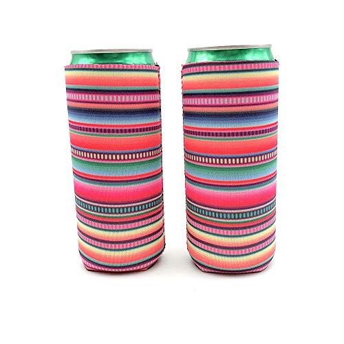 Bierdosen-Kühler, Neopren, schmal, groß, stabil, faltbar, stoppig, geeignet für 340 g Slim Energy Drink & Bier, 2 Stück Serape