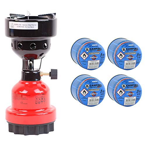 Campingkocher und Shisha- Kohleanzünder Anzünder 2in1 Metall Gaskocher Shishakocher aus Metall in Rot + 4 Gas