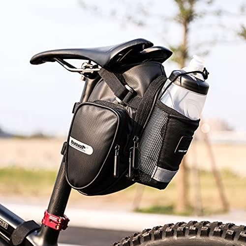Borsa da Sella per Bicicletta con Copertura Impermeabile, Borsa da Sella per Bici con Tasca per Bottiglia Striscia Riflettente, Custodia Bicicletta sotto Il Sedile Pacchetto Bici da Strada MTB