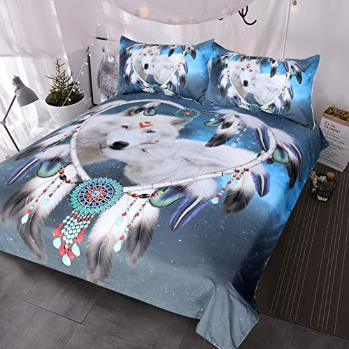 BlessLiving Wolf Dream Catcher Bedding 3 Piece White Wolves Bed Set Blue Galaxy Wolf Couple Duvet Cover (Double)
