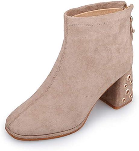 ZHRUI botas de Tobillo de Cuero Tacones Altos para mujer, otoño e Invierno Nuevas botas Martin Puntiagudas Wild Casual Grueso con botas Bare para mujer (Color   Beige, tamaño   38)