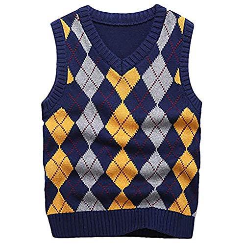 KID1234 Jungen Pullunder Kinder Gestrickte Weste V-Ausschnitt ärmellose Sweatshirt Baumwolle Strickpullover, Blau, 120cm(Herstellergröße:116-122)