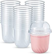 OTOR 12 Ounce 50 Sets Clear Disposalbe Plastic PP Cups with Dome Lids Sodas Fruit Salads,Desserts,Yogurts Drinkware