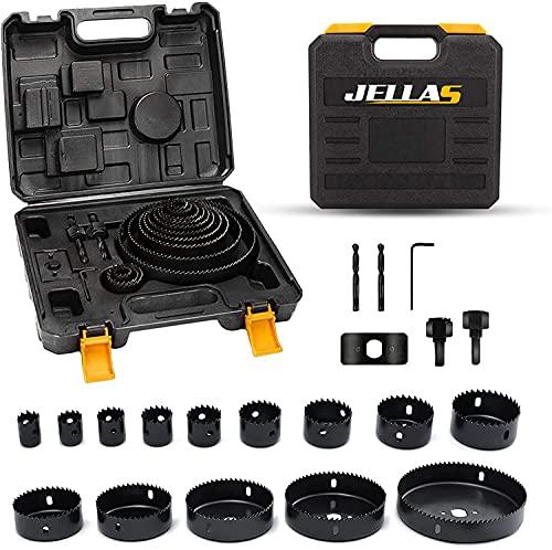Hole Saw Set, Jellas 20PCS Hole Saw Kit with 14Pcs Saw Blades, Max Size 5