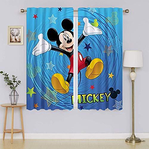 lacencn Mickey-Mouse - Cortinas de microfibra con aislamiento térmico para reducir el ruido y mantener el calor para sala de estar o dormitorio (55 x 72 cm)