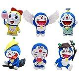 Doraemon Adornos para Tartas,Mini Doraemon Caricatura Cake Topper, Fiesta de Cumpleaños DIY Decoración Suministros,Baby Baptism Birthday Party Cake Decoraciones,6 Piezas