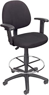 Boss Office Products Ergonomic Works Drafting Chair with Adjustable Arms in Black