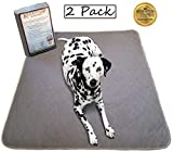 Kluein Pet Mat, Washable Pee Pads for Dogs, 2-Pack Grey XL 36x41, Reusable Puppy Training Pads, Whelping Box Liner, Playpen Mat, Travel Pad, Waterproof Rug