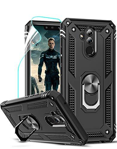 LeYi Cover per Huawei Mate 20 Lite Custodia, 360° Ring Difesa Militare Bumper TPU Case Magnetica Silicone Custodie con HD Pellicola per Huawei Mate 20 Lite Case Nero