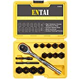 ENTAI Bolt Extractor Set, Heavy Duty 16-Piece Rounded Bolt Remover with 3/8 Inch Reversible Ratchet, Stripped Damaged Bolt Nut Extractors Set with Solid Carrying Case
