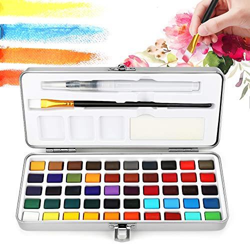 Achort Aquarellfarben Set hochwertiges Aquarellkasten mit 50 Wasserfarben Farbkasten, Pinsel, Schwamm, Zeichenstift für Anfänger und Profis