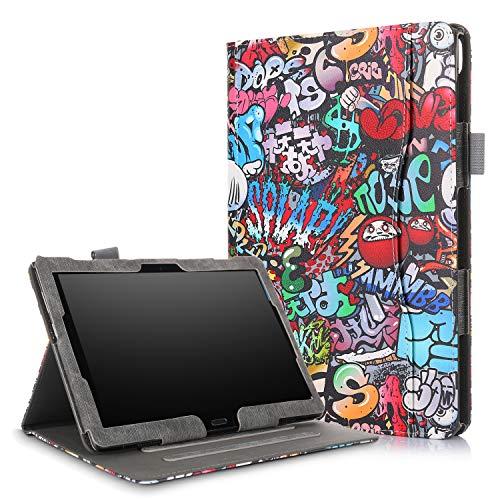 Xuanbeier Hülle Multifunktional Kompatibel mit Lenovo Tab4 10/Tab 4 10 Plus/Tab E10 TB-X104 10.1Zoll Tablette mit Multi-Winkel & Handhalter, Graffiti