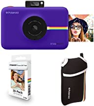 Polaroid Snap Touch Instant Print Digital Camera With LCD Display (Purple with Zink Zero Ink Printing Technology w/ Starter Kit, ZINK Paper (30 Sheets), and Neoprene Protective Pouch