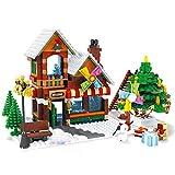 PEXL Set de Navidad 2020, casa de juguete con árbol de Navidad, muñeco de nieve, 812 piezas, compatible con Lego
