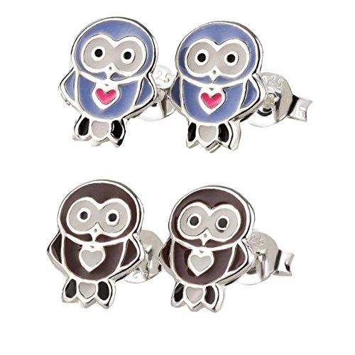 SL-Silver 2paio di bambini orecchini set piccolo gufo con cuore in argento 925in confezione regalo