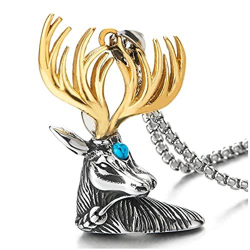 Plata Color Oro Cabeza Cuerno Ciervo Reno Collar con Colgante Resina Turquesa, Hombre Mujer, Acero, Cadena de Trigo 75MM