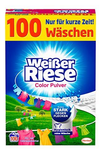 Weißer Riese Color Pulver (100 Waschladungen), Colorwaschmittel extra stark gegen Flecken,...