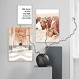 Marruecos pasillo desierto árbol camello autobús pared arte lienzo pintura carteles nórdicos e impresiones cuadros de pared para la decoración de la sala de estar 40 * 60 cm