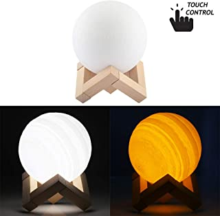 LIAOXIGANG USB Charging 2-Color Changing Energy-saving LED Night Light with Wooden Holder Base, 10cm Touch Control 3D Print Jupiter Lamp