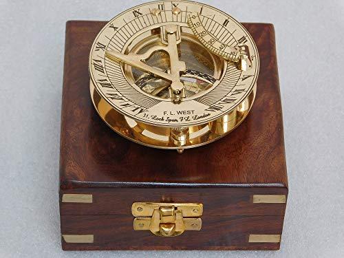 RIRHTAJUS Messing-Sonnenuhr Kompass, vollständig handgefertigt, voll funktionsfähig, mit Palisander-Box