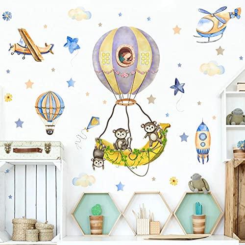 Globo Aerostático Mono Dibujos Animados Pegatinas De Pared Dormitorio Sala De Estar Fondo Pared Decoración De Habitación De Niños Pegatinas De Pared