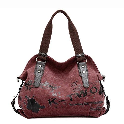 Minetom Fashion Damen Mädchen Casual Canvas Umhängetasche Handtasche Schultertasche Tote Ideal Für Büro Freizeit Einkaufen Outdoor 40 X 15 X 30Cm (Rot)