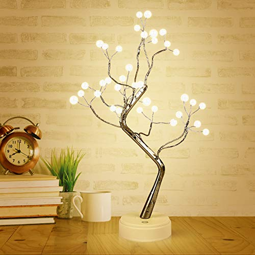 Herefun Árbol con Luces, Árbol Bonsái de Luces Led, Árbol Bonsái Lámpara con 36 LED, Luces de Noche de árbol Bonsai, Lámpara para Fiesta Boda Decoraciones (36 LED)