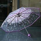 shengmo Paraguas transparente transparente con diseño de cerezo y seta Apollo Sakura paraguas (color D: D)