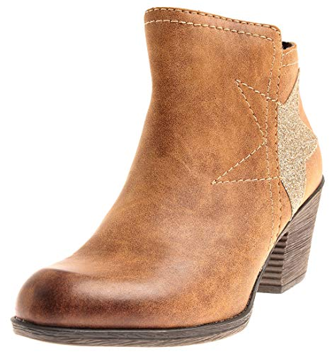MARCO TOZZI 2-25319 Damen Kurze Cowboy-Stiefelette Bootie Kurzstiefel Schuhe Nut EU 40