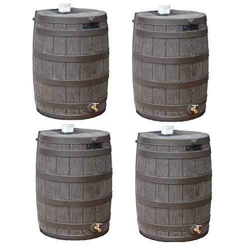 Good Ideas Rain Wizard 50 Gallon Plastic Rain Barrel with Brass Spigot (4 Pack)