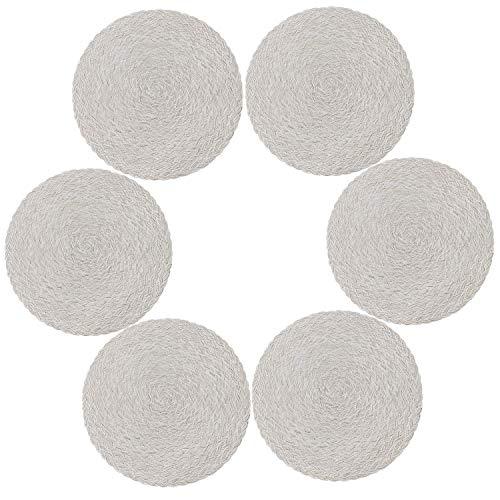 U'Artlines Set di 6 Tovagliette in Polipropilene Intrecciato e Cotone Resistenti al Calore(N Bianco Crema)