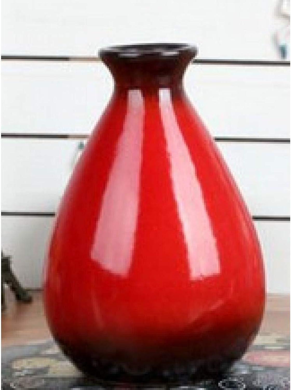 VBJDKB Rétro 1Pc Peint à La Main en Céramique Vase Décoration De La Maison Petit Vase De Fleur Hydroponique, Rouge