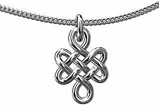 PPLuxury 14K White Gold Buddhist Spiritual Eternal Endless Love Knot Religious Jewelry Pendant Necklace