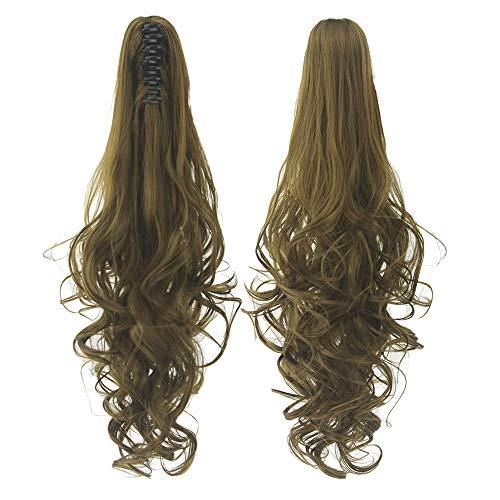 24 pouces longue griffe sur queue de cheval extension femmes cheveux bouclés ondulés queue de poney postiche Jaw Clip,Curly-Brown