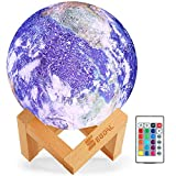 SEGOAL Moon Lamp Night Light, 16 Colors LED 5.9 Inch 3D Earth Lamp with Wood Stand, Touch & Remote Control & USB Rechargeable, Birthday Gift for Baby, Kids, Girls, Boys