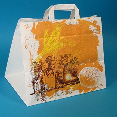250 Papiertragetaschen Papiertüten Bäckertüten Bäckertragetaschen Kuchentragetaschen Papier mit Flachhenkel weiß mit Bäckermotiv 32+22x27cm 80g/m²