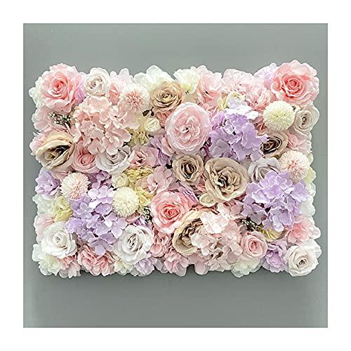 YNGJUENCP Paneles De Flores Flores Artificiales Pantalla De Pared 60x40cm (24'x16) Resejos Florales Románticos Hedge Decoración para El Hogar Fondo De Fiesta De Fiesta(Color:03)