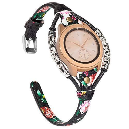 Glebo Leder Armband Kompatibel mit Samsung Galaxy Watch 42mm / Active 40mm / Active 2 (40mm/44mm) für Damen, 20mm Vintage Uhrenarmband Ersatzband für Samsung Gear S2 Classic/Gear Sport,Schwarzes Rosa