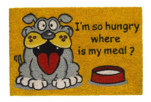 Paillasson en coco - Modèle chien - I'm So hungry where is my meal ? - Dimensions : 40 x 60 cm