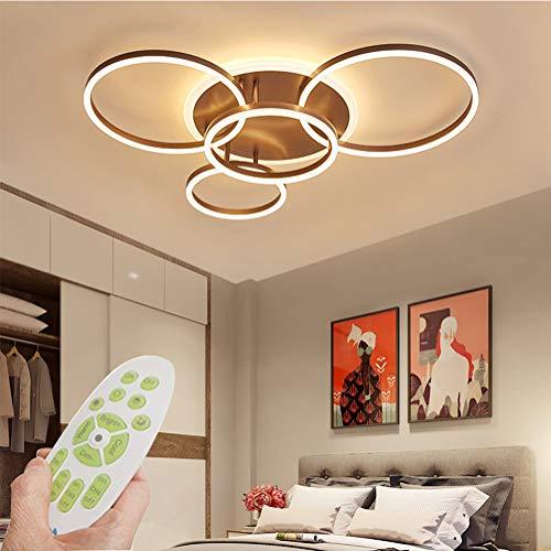QAZPLM 5-Flammige Wohnzimmer Deckenleuchte Modern LED Deckenlampe Dimmbar mit Fernbedienung 72W Aluminium AcrylLampenschirm Ring Design Innen Dekoration Lampen für Esszimmer Wohnzimmer Arbeitszimmer