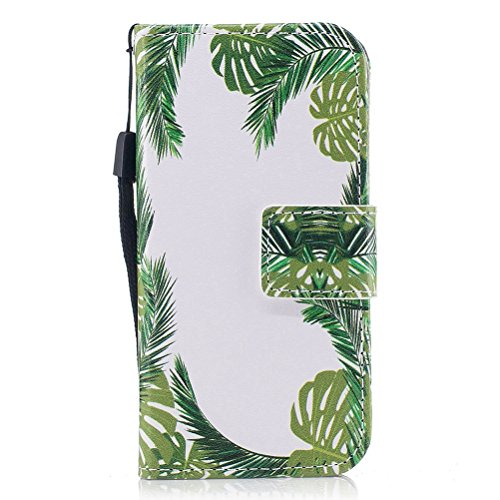 EUWLY Kompatibel mit Galaxy S7 Handy Schutzhülle Brieftasche Handytasche Lederhülle Leder Tasche Handytasche Wallet Klapphülle Flip Case Cover,Grün Baum Blatt