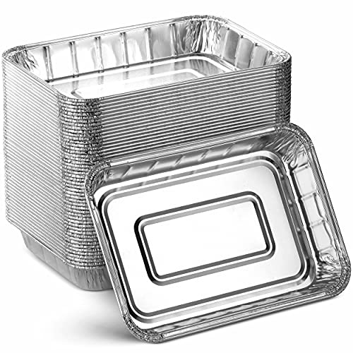 grills with pans Aluminum Foil Grill Drip Pans - Bulk Pack of Durable Grill Trays – Disposable BBQ Grease Pans – Compatible with Weber Grills - Made in the USA - Also Great for Baking, Roasting & Cooking (Pack of 25)