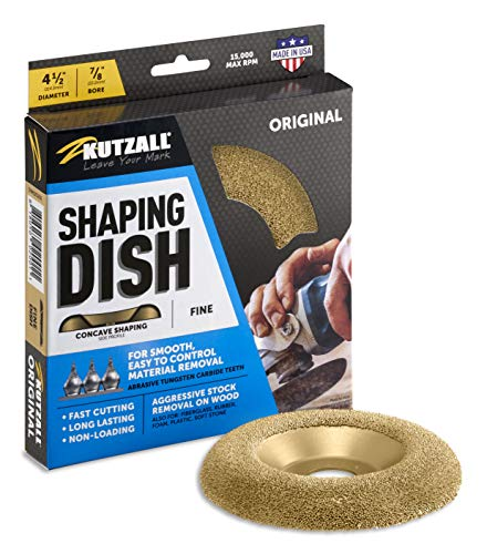 Kutzall Original Shaping Dish - Fine, 4-1?2 (114.3mm) Dia. X 7?8 (22.2mm) Bore - Woodworking Angle Grinder Attachment for DeWalt, Bosch, Milwaukee, Makita. Abrasive Tungsten Carbide, DW412O230
