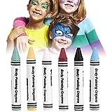 Kits de pintura facial lavable no tóxica de 6 colores, neón, crayones de pintura corporal, pigmento, niños, pintura facial, fluorescente, fútbol fluorescente para Halloween, Semana Santa