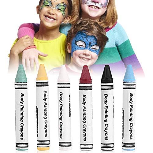 6 farben ungiftig waschbar gesicht malerei kits, neon körperbemalung buntstifte pigment kinder kinder gesicht malerei glow fluoreszierende fußball für halloween, ostern, karneval kostüme, cosplay
