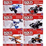 Bolts from The Makers of Meccano Set of 6 Building Erector Sets Race Car, Car, Helicopter, Plane, Biplane, Bulldozer