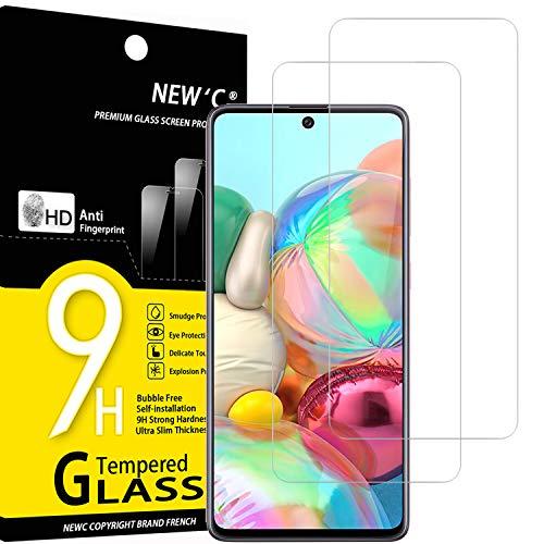 NEW'C 2 Unidades, Protector de Pantalla para Samsung Galaxy A71, Note 10 Lite, Antiarañazos, Antihuellas, Sin Burbujas, Dureza 9H, 0.33 mm Ultra Transparente, Vidrio Templado Ultra Resistente