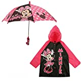 Disney Umbrella and Slicker Set, Toddler or Little Girl Rainwear Ages 2-7, Minnie Mouse, SMALL, AGE 2-3