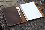 Leather business portfolio 3 ring binder for letter size 3 hole refill paper/leather organizer folder for 8.5 x 11 refillable paper NL05BS