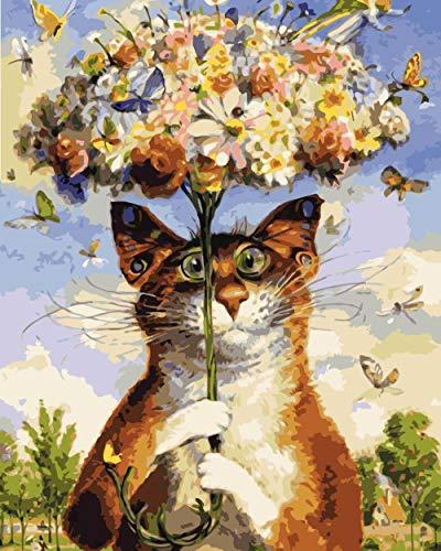 Leinwand Home Decor Wandplakat Malerei Digital ?lgem?lde Nizza Regenschirm Katze 40x50cm